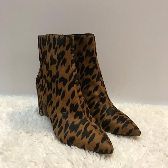 8d2ca6811 Sam Edelman Leopard Hilty Cow Hair Heeled Boots. M 5c12ec8de944ba739f1a20cf